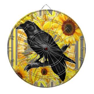 yellow floral  black crow & sunflowers art dartboard