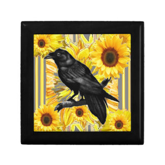 yellow floral  black crow & sunflowers art gift box