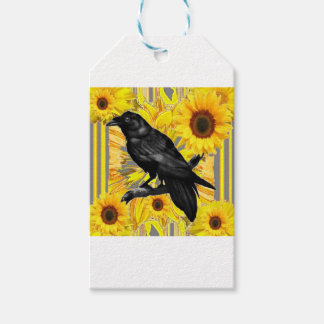 yellow floral  black crow & sunflowers art gift tags