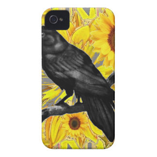 yellow floral  black crow & sunflowers art iPhone 4 Case-Mate case
