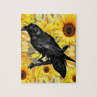 yellow floral  black crow & sunflowers art jigsaw puzzle