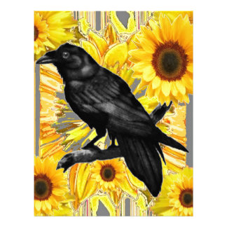 yellow floral  black crow & sunflowers art letterhead
