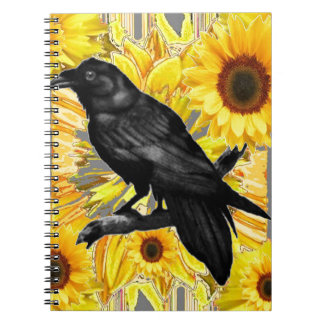 yellow floral  black crow & sunflowers art notebook