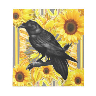 yellow floral  black crow & sunflowers art notepad