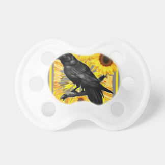 yellow floral  black crow & sunflowers art pacifier