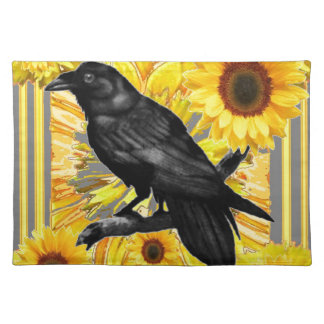 yellow floral  black crow & sunflowers art placemat