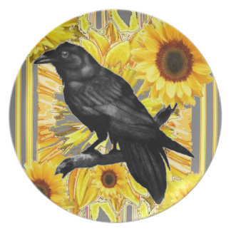 yellow floral  black crow & sunflowers art plate