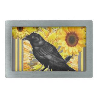 yellow floral  black crow & sunflowers art rectangular belt buckles