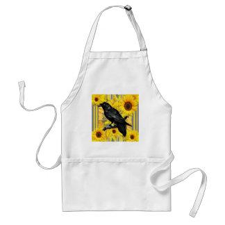 yellow floral  black crow & sunflowers art standard apron