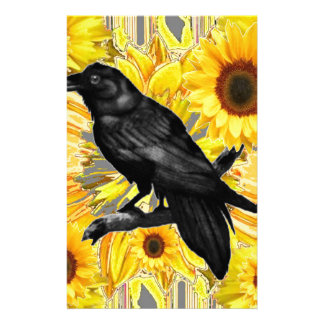 yellow floral  black crow & sunflowers art stationery