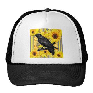 yellow floral  black crow & sunflowers art trucker hat