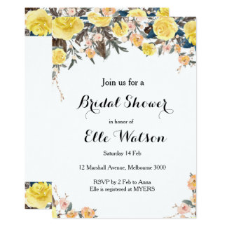 Yellow Floral Bridal Shower Invitation