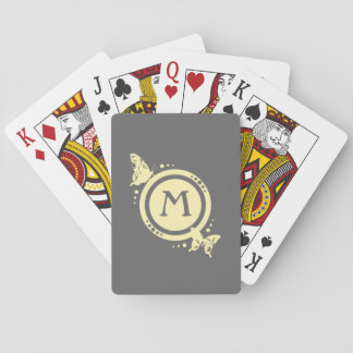 Yellow Floral Butterfly Monogram on Gray Poker Deck