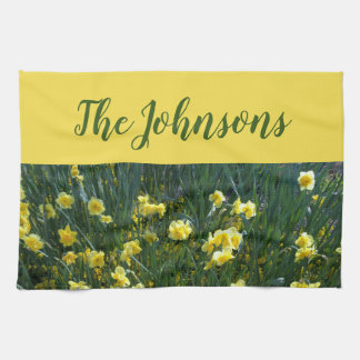 Yellow floral Daffodils Kitchen Towel