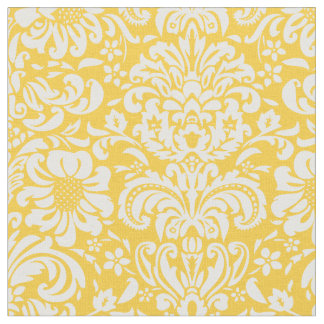 Yellow Floral Damask Fabric