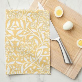 Yellow Floral Damask Pattern Kitchen Towel