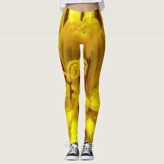 Yellow floral leggins leggings