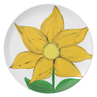Yellow Floral Painted Melamine Dinner Plates