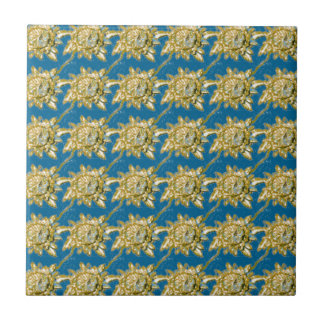 Yellow Floral Pattern on green blue background Ceramic Tile