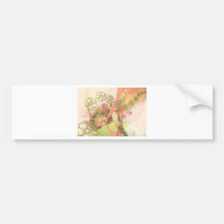Yellow floral pattern with pink swirls car bumper sticker