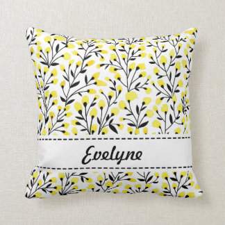 Yellow Floral Personalized Pillow