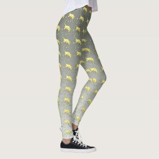 Yellow floral print leggings