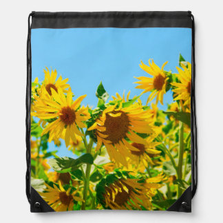Yellow Floral Sunflowers Drawstring Bag