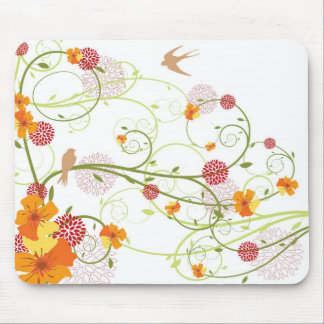 Yellow Floral Swallows Mousepad