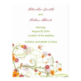 Yellow Floral Swallows Save Date /RSVP/ Invitation Postcard