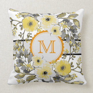 Yellow Floral Vintage Monogram Throw Pillow