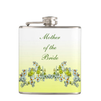 Yellow Floral Wedding Mother of the Bride Hip Flask