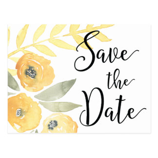 Yellow Floral Wedding Save The Date Postcards