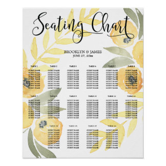 Yellow Floral Wedding Seating Chart 16x20 Poster