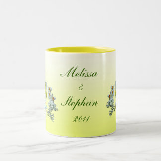 Yellow Floral Wedding Two-Tone Coffee Mug