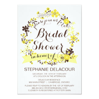 Yellow Floral Wreath Bridal Shower Invitation