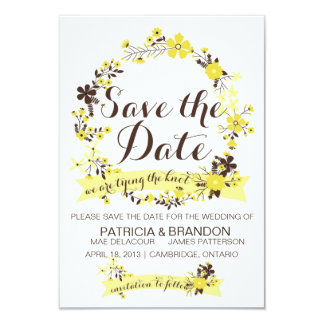 Yellow Floral Wreath Save The Date Invitation