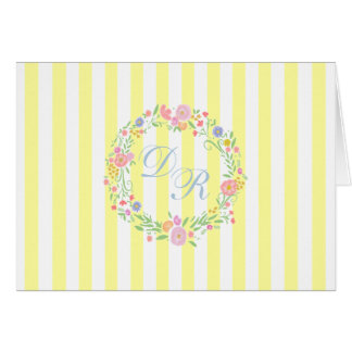 Yellow Floral Wreath With Monogram Card