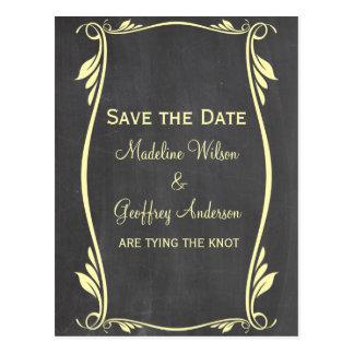 Yellow Flourish Chalkboard Save the Date Postcard