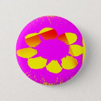 yellow flower 2 inch round button
