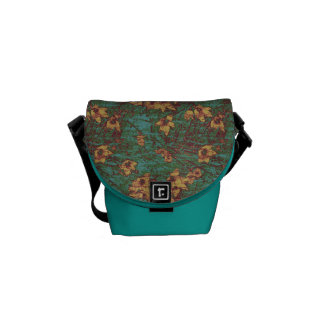 Yellow flower against leaf camouflage pattern 2 messenger bags