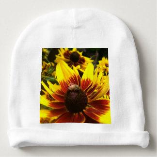 Yellow flower and bee baby beanie