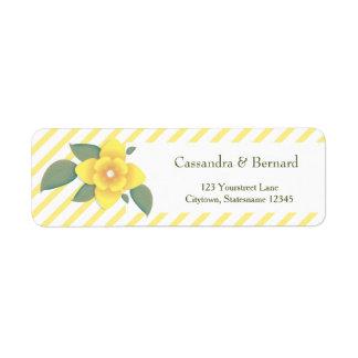 Yellow Flower and Stripe   Return Address Labels