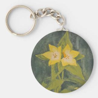Yellow flower basic round button keychain