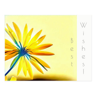 Yellow flower Best Wishes Postcard