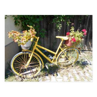 Yellow Flower Bike On The Street Postcard