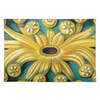 yellow flower burst art placemat