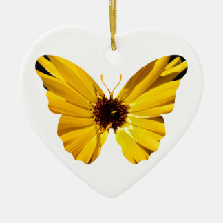 Yellow flower butterfly silhouette ceramic heart ornament