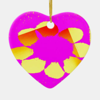 yellow flower ceramic heart ornament