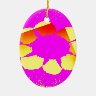 yellow flower ceramic ornament