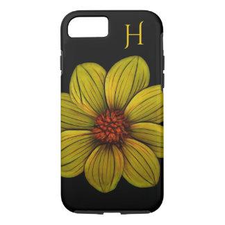 Yellow Flower Daisy Black Monogram iphone Case